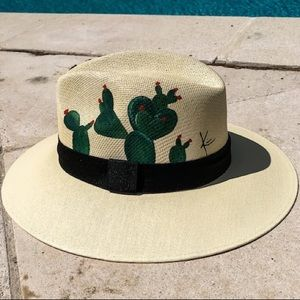 Cactus Summer Fedora (Hand Painted)